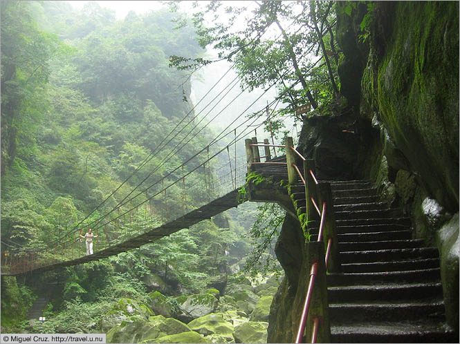 China: Sichuan Province: Precarious walkway