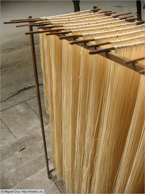 China: Sichuan Province: Noodles out to dry