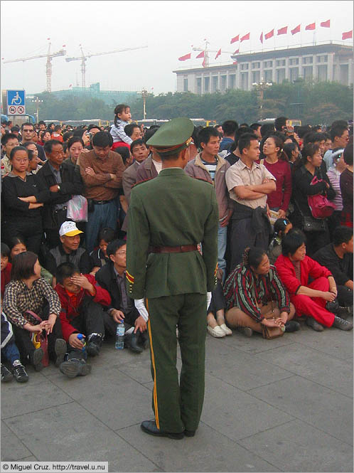 China: Beijing: Tiananmen Square crowd control
