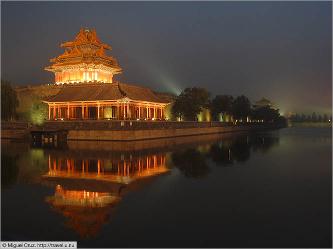 China: Beijing: Outside the Forbidden City at dusk