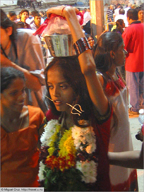 Malaysia: Thaipusam in KL: Young pierced girl