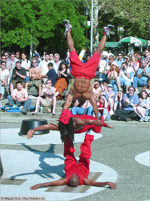 United States: New York City: Washington Square Park acrobats